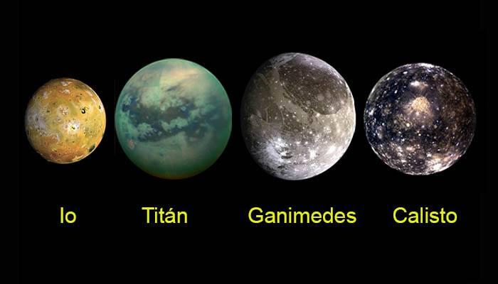 tamaño las 4 lunas más grandes del sistema solar